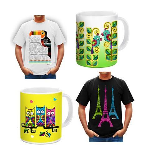 Mugs and shirts with print